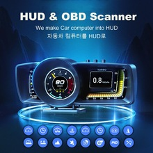 Digitale Lcd Guage Display Obd + Gps Hud Mini Snelheidsmeter Scanner Met Accelorator Turbo Brake Test Voor Universele Auto Gratis usb C