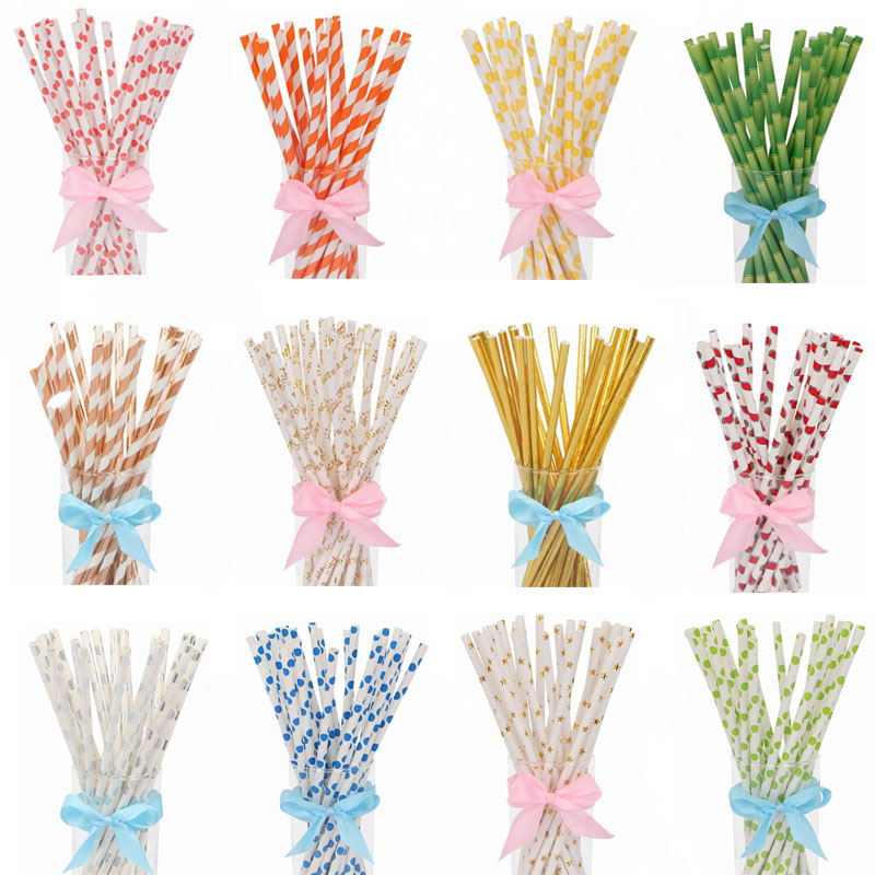 25pcs Gold Rose Gold Silver Paper Straws Wedding Favors Star Fruit Drinking Straws Birthday Party Decoration Kids Party Supplies