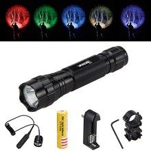 Охотничий светильник светодиодный тактический флэш-светильник фонарь+ дистанционный переключатель давления+ аккумулятор 18650+ крепление+ зарядное устройство