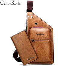 Celinv Koilm Famous Brand Mans Sling Bag Leather Men Chest Bags Fashion Simple Travel Crossbody Bag For Young Man Messenger Bag