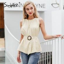 Simplee elegancka bluzka damska bez rękawów top trwałe koszule feminina seksowna bluzka Casual damska odzież robocza biuro topy damskie camis