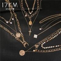 17KM bohême or Portrait mode lune perle pendentif colliers pour femmes Vintage Muklltilayer pièce sautoir 2019 bijoux