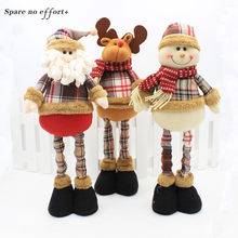 47cm Santa Claus Snowman Christmas Dolls Christmas Decorations for Home Retractable Standing Toy Birthday Party Gift Kids Natal(China)