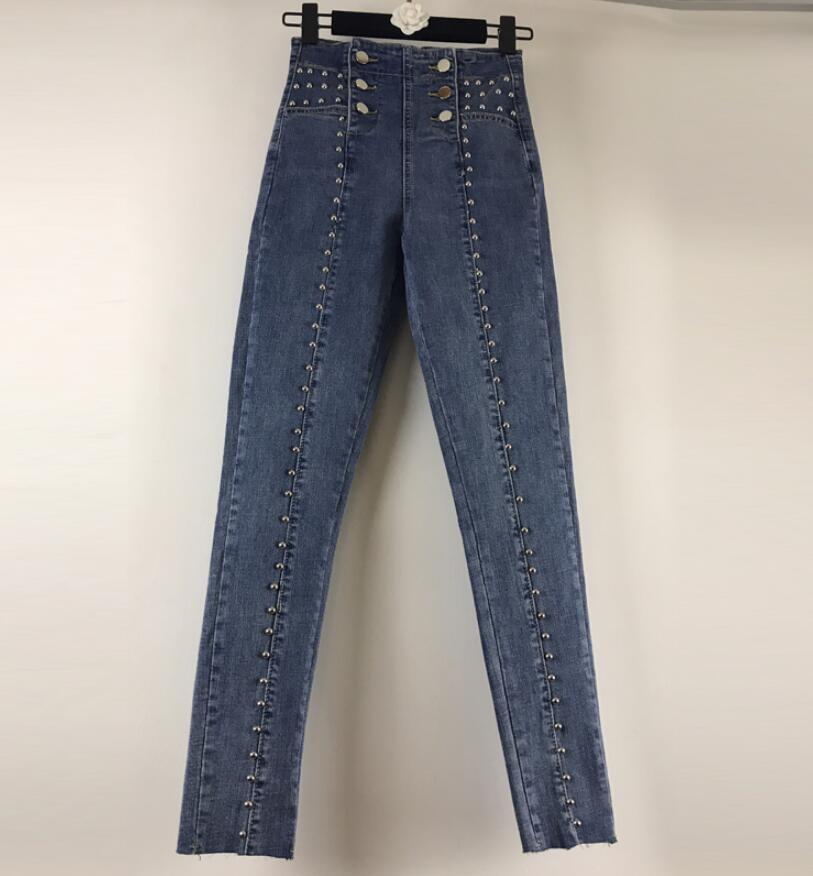 Heavy Industry Beaded Rivets High Waist Slim Denim Pants Women 2020 New Spring Autumn Slim Was Thin Elastic Pencil Pants R02