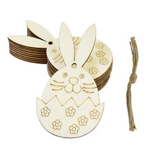 10pcs DIY 행복 한 부활절 나무 토끼 계란 펜 던 트 미완성 된 공예 집 부활절 장식 어린이위한 문자열로 장식 매달려