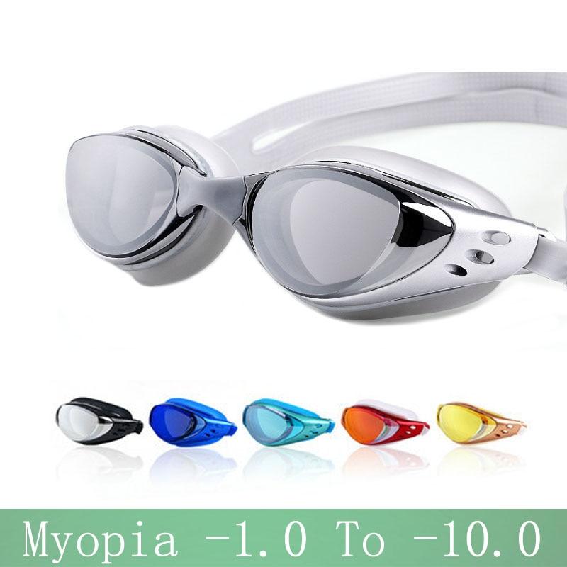Myopia Swimming glasses -1.0~-10 Waterproof Anti-Fog arena Prescription swim eyewear water Silicone Big diving goggles Men Women(China)