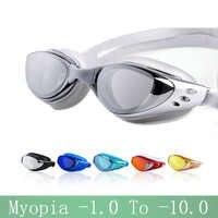 Myopia Swimming glasses -1.0~-10 Waterproof Anti-Fog arena Prescription swim eyewear water Silicone Big diving goggles Men Women