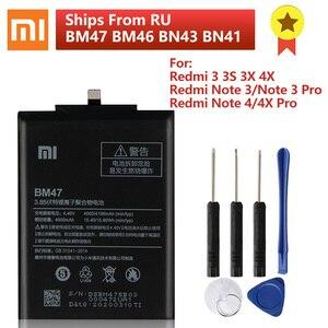 Image 1 - Batterie téléphone dorigine BM47 XIAOMI pour Xiaomi Redmi 3 3S 3X 4X Pro Redmi Note 4 4X 4X Pro Mi5 BN43 BN41 BM46 batterie de remplacement