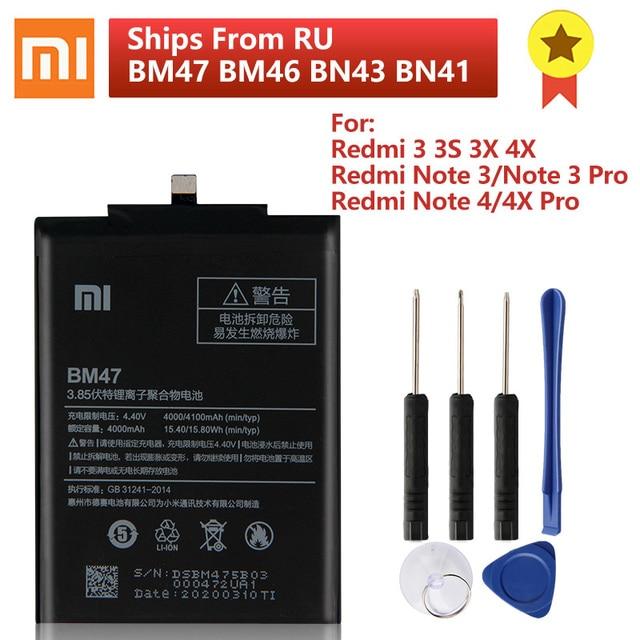 Batterie téléphone dorigine BM47 XIAOMI pour Xiaomi Redmi 3 3S 3X 4X Pro Redmi Note 4 4X 4X Pro Mi5 BN43 BN41 BM46 batterie de remplacement