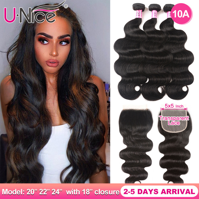 $ US $85.15 UNICE Hair 5X5 Transparent Lace Closure With Body Wave 3 Bundles Brazilian Human Hair 8-30 Inch Weaves 100% Human Hair Bundles