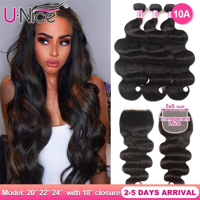 $ US $85.15 UNICE Hair 5X5 Transparent Lace Closure With Body Wave 3 Bundles Brazilian Human Hair 8-30 Inch Weaves 100% Human Hair Bundles
