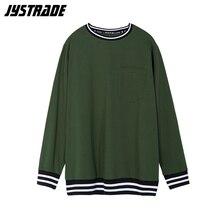 Męski ponadgabarytowy kieszonkowy t shirt męski zielony wojskowy koszulki bawełniane z długim rękawem koszulka w paski w koreańskim stylu moda uliczna miękka bluza top