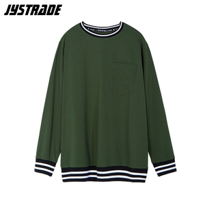 Image 1 - male oversized pocket t shirt mens military green cotton tshirts long sleeve striped T shirt korean streetwear soft pullover top