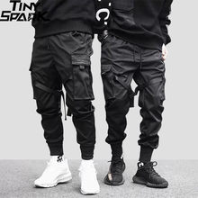 2020 Hip Hop Cargo pantalon poches hommes Streetwear Harajuku Joggers pantalon HipHop Swag Ribbion sarouel mode pantalon décontracté(China)