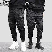2020 Hip Hop Cargo spodnie kieszenie mężczyźni Streetwear Harajuku spodnie joggery HipHop Swag Ribbion Harem spodnie moda spodnie typu Casual