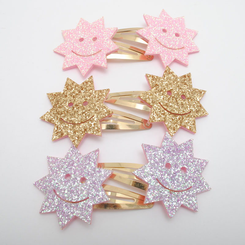 2 Pieces Girls New Hair Clips Kids Elastic Hair Bands Smiling Sun Flower Hair Tie Holder Children Hairpin Accessories Gift in Hair Accessories from Mother Kids