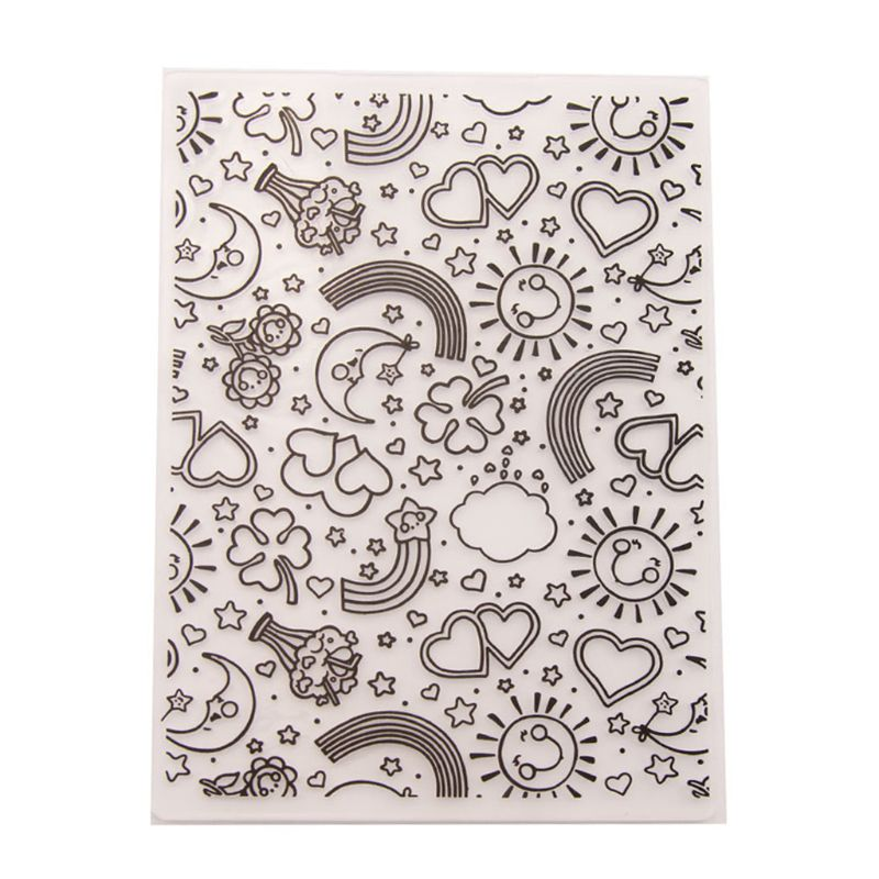 Hot Sales Clear Stamp for Scrapbooking Plastic Embossing Folder Template DIY Scrapbook Photo Album Card Making Crafts Rainbow