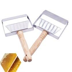 Skrobak miodu ze stali nierdzewnej sprzęt pszczelarski otwieracz do skrobania miód o strukturze plastra miodu łopata drewniany uchwyt narzędzie otwarte Bolt Fork3|Przybory pszczelarskie|Dom i ogród -