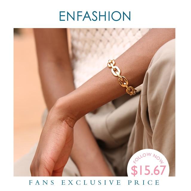 Enfashion Pure Form Medium Link Chain Cuff Bracelets & Bangles For Women Gold Color Fashion Jewelry Jewellery Pulseiras BF182033
