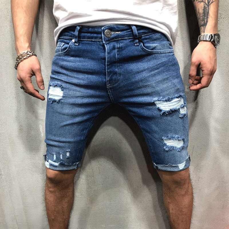 2020 New Men Stretch Short Jeans Fashion Casual Slim Fit High Quality Elastic Denim Shorts Male Hole Out Short Jeans