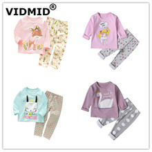 VIDMID Autumn Spring Sleepwear baby girls pajamas clothing sets long sleeve t-shirts+ pants kids cotton 4049