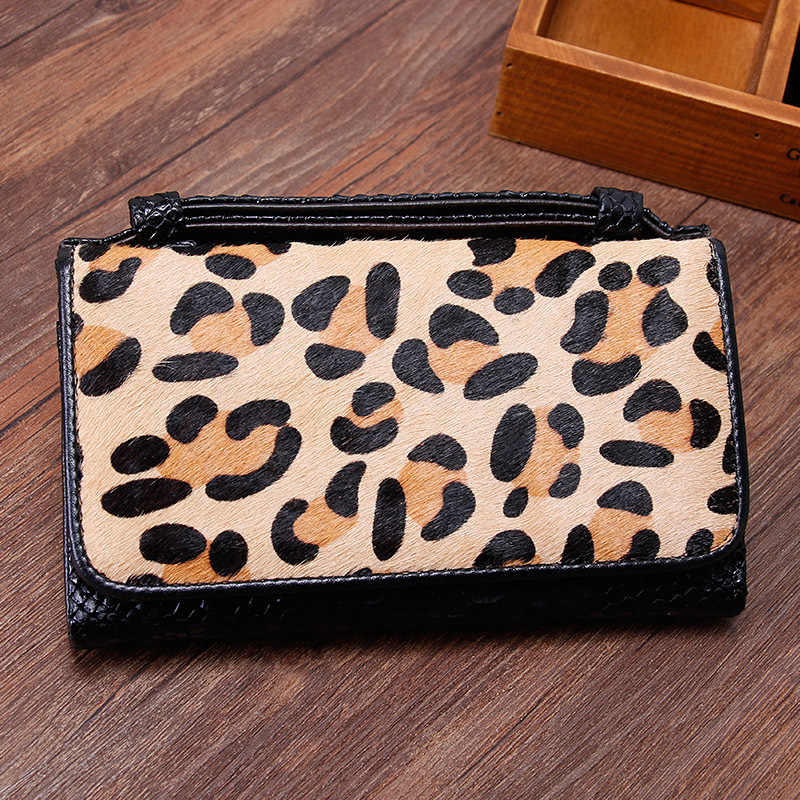 Horse Fur Leather Wallet Leopard Crossbody Bags For Women 2019 Winter Purses and Handbags