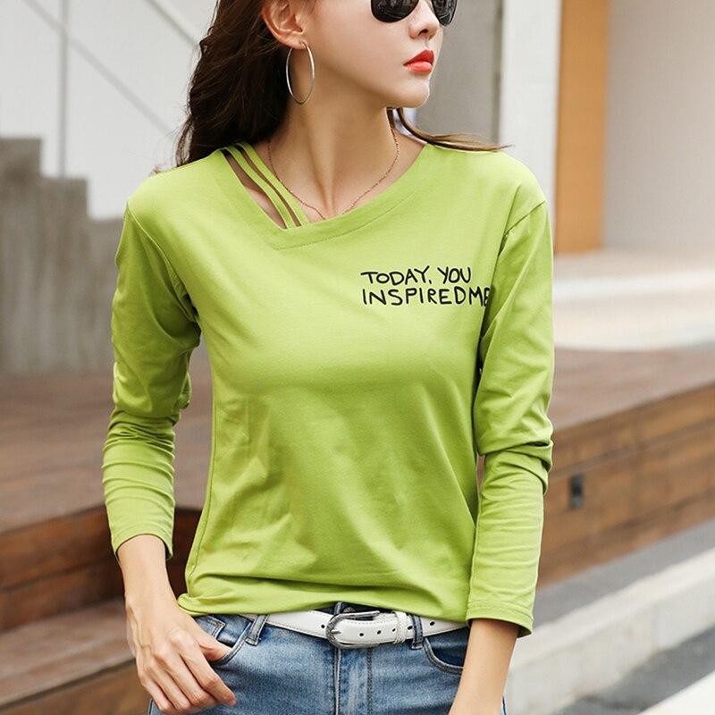 Hole T-Shirt V-Neck Letter Print Long Sleeve Shirt Women Clothes 2020 Womens Tops Cotton Female Tshirt Casual Tee Shirt Femme