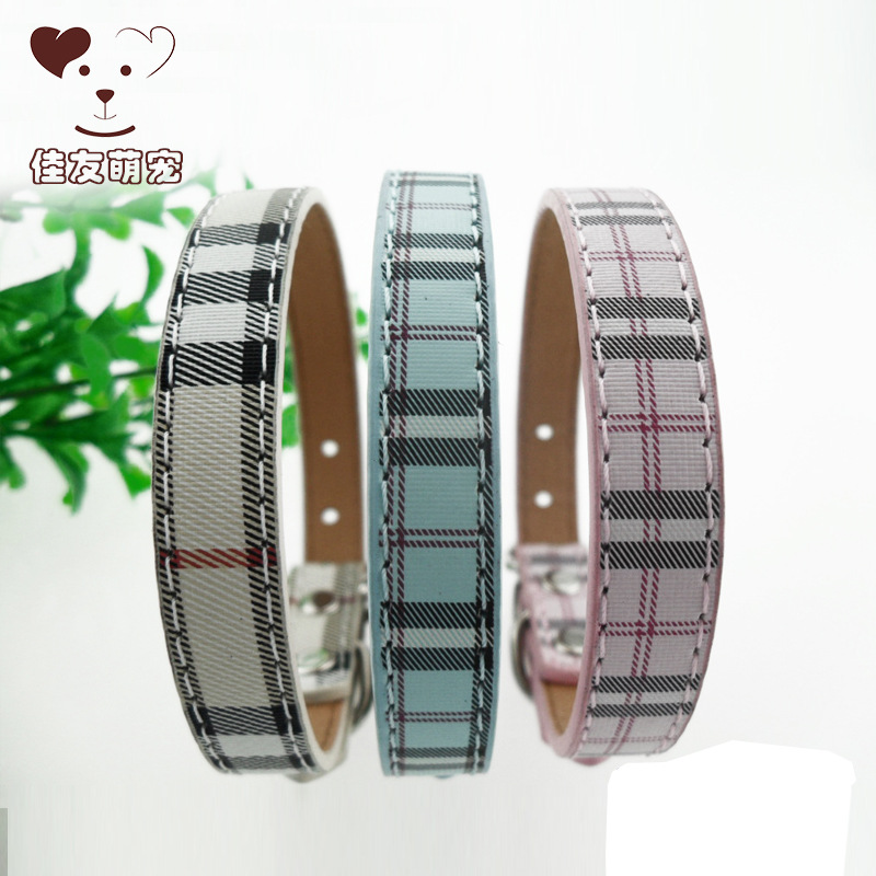 Dog Neck Ring Hot Selling Classic Scotland Plaid PU Pet Collar Dog Supplies