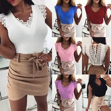 Women Sexy Summer Off Shoulder T Shirts Back Lace Up Lace Tee 2019 New Fashion Casual Slim V Neck Pullover Solid Top sexy deep v neck lace up front casual t shirts in fuchsia