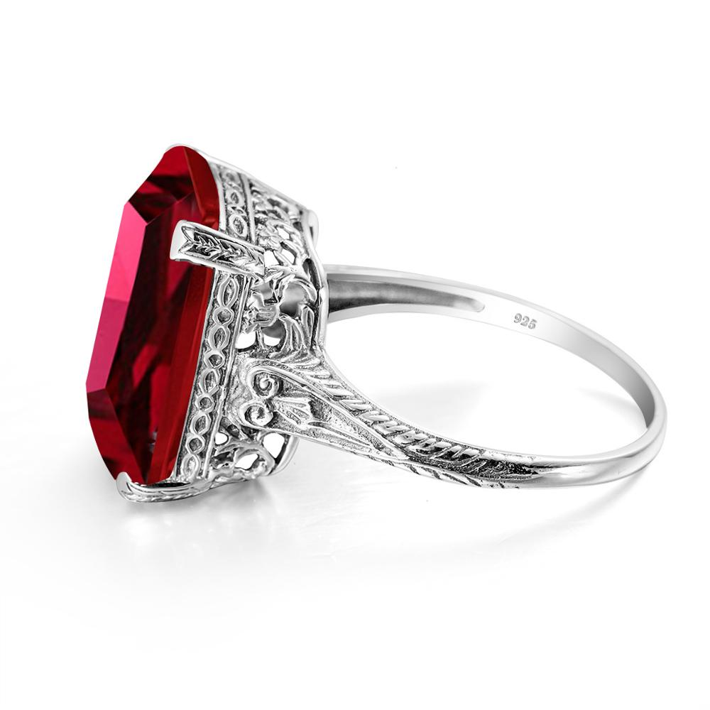 Top Jewelry Ruby Ring 100% Real 925 Sterling Silver Creative Square Gemstone Rings For Women Accessories 925 Luxury Jewellry Box