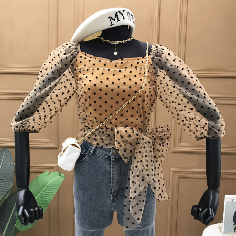 Sexy Blouse Women 2020 Spring and Summer New Women's Polka Dot Waist Bow Tie Slim Blouse Tops Blusas Femme