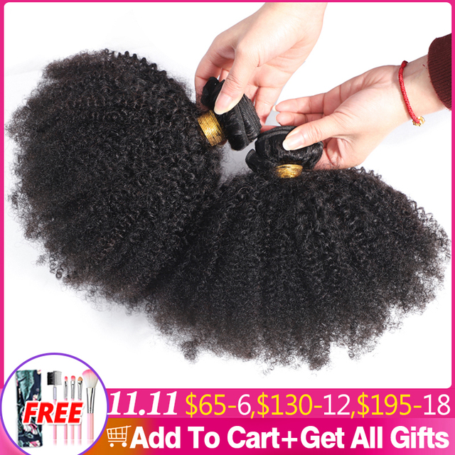 Afro Kinky Curly Hair Weave 1 2 3 6 9 Bundles Deal Remy Hair 100% Human Hair Extension 8 20 Inch Natural Color Jarin Hair Bulk