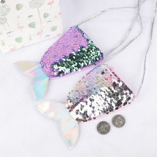 Cute Sequins Bag Coin Purse For Girls Mermaid Tail Women Coin Purse Earphone Kids Zipper Purse Bag Pocket Change Wallet(China)