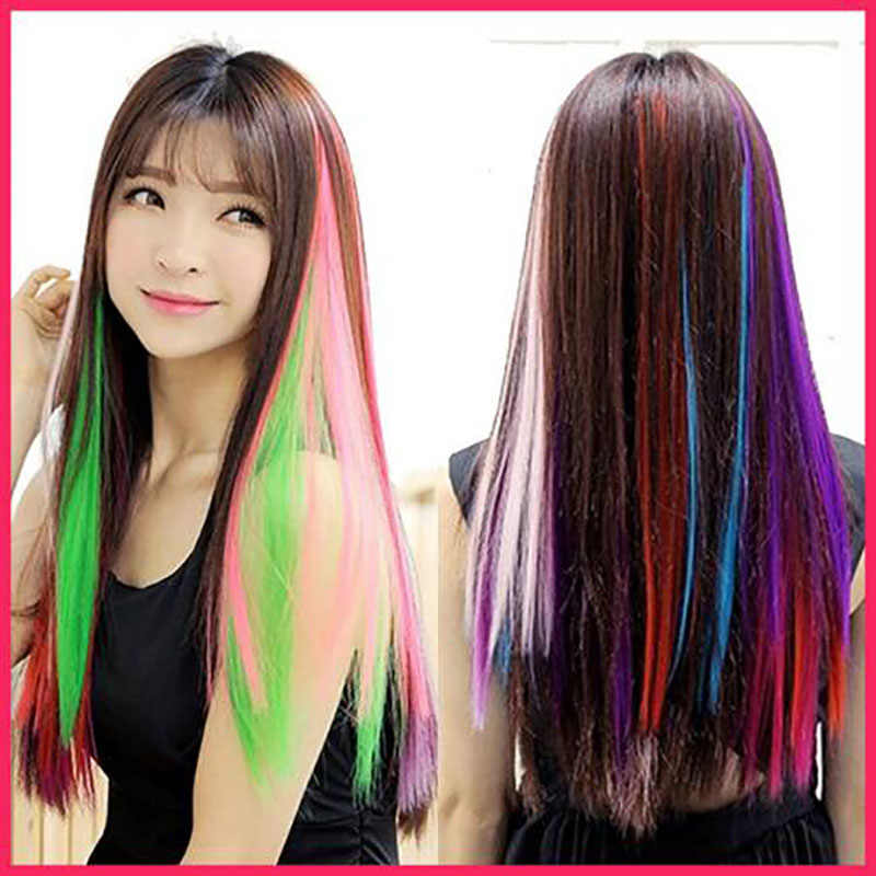 Color Strips Long Straight Single Clip In One Piece Hair Extensions Heat Resistant Women Hair Pieces Synthetic Hair