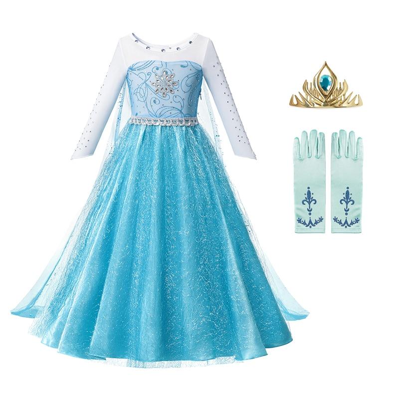 С Анной и Эльзой для девочек из 2 вещей, платье принцессы для девочек детская одежда для девочек; Детская одежда; Костюмы на Хэллоуин рождест...