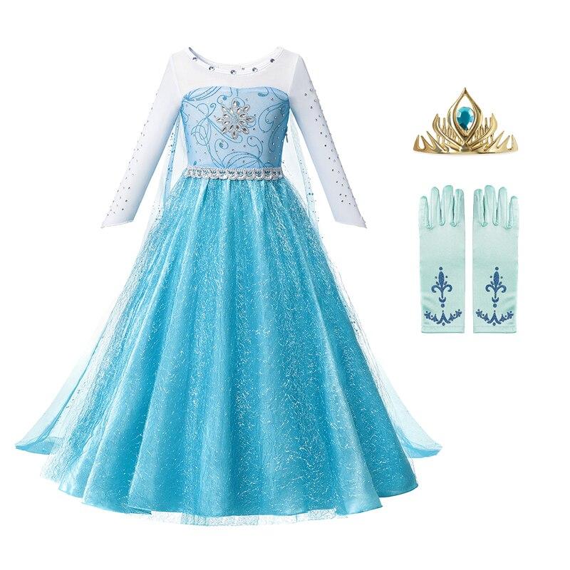 Anna elsa 2 meninas vestido de princesa crianças roupas meninas crianças roupas de halloween natal cosplay vestido de festa do feriado vestidos