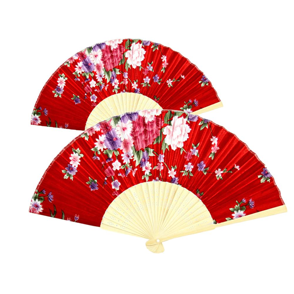 Japanese Classical Floral Printed Hand Held Folding Fan Decor Photography Prop