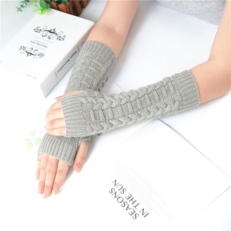 Autumn Winter Warm Gloves Women Knitting Cable Fingerless Mittens Female Thick Knitted Woolen Arm Warmers Thumb-hole Arm Sleeve