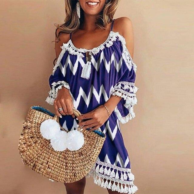 Women Summer Dress Plus Size Leisure Sweet Korean Version Halter Tassel Off Shoulder Ripple Printed Lace Loose Beach Dress G1