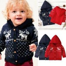 Рождество Одежда для маленьких мальчиков и девочек вязаное, тёплое, зимнее свитер Пальто с капюшоном и длинными рукавами Верхняя одежда, куртки