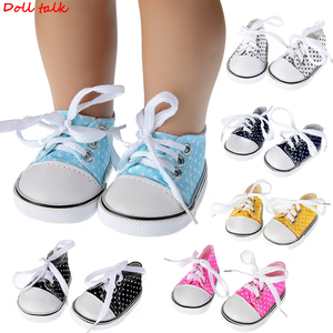 Doll Shoes For 43 cm Baby Doll Spotted Lace 7cm Canvas Denim Sneakers Shoes For American Doll Fit Russian handmade Doll Toy(China)