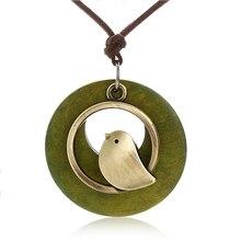 1PCS woman jewelry statement necklaces & pendants Bird Wooden Bead pendant vinta