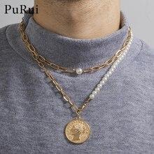 Модный Асимметричный монета с портретом кулон ожерелье для мужчин и женщин многослойные, в стиле бохо жемчужные ожерелья геометрической фо...