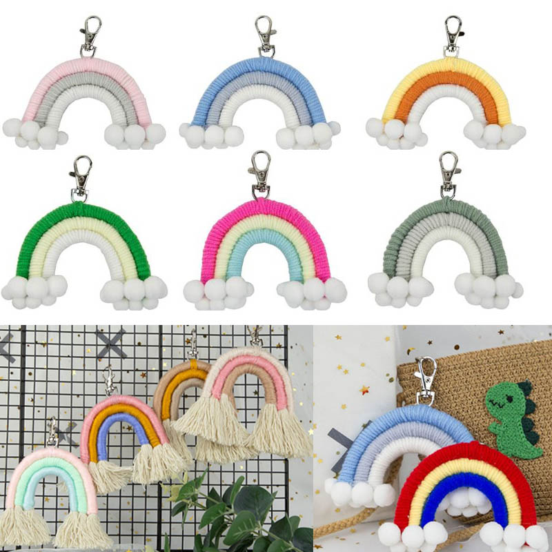 Handmade Weaving Rainbow Ornament Keychain Hair Ball Kids Room Decoration Wall Hanging Pendant Photo Props