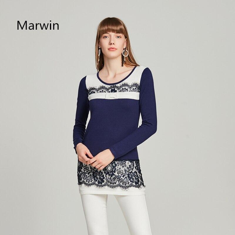 Женский трикотажный свитер Marwin, осенне-зимний Повседневный свитер с цветочным принтом