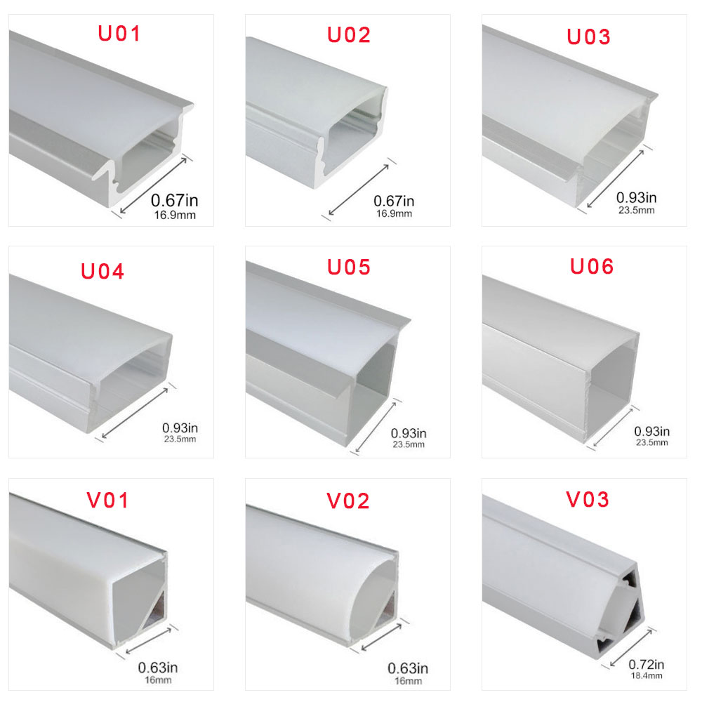 60CM WS2811 WS2812B WS2813 WS2815 LED Strip Light Cabinet Recessed Line Light LED Soft Light Bar Aluminum Slot U/V-shaped