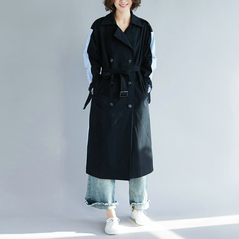 SuperAen Lapel Striped Stitching Women Windbreaker Autumn New 2019 Casual   Trench   Coat for Women Wild Cotton Women Clothing