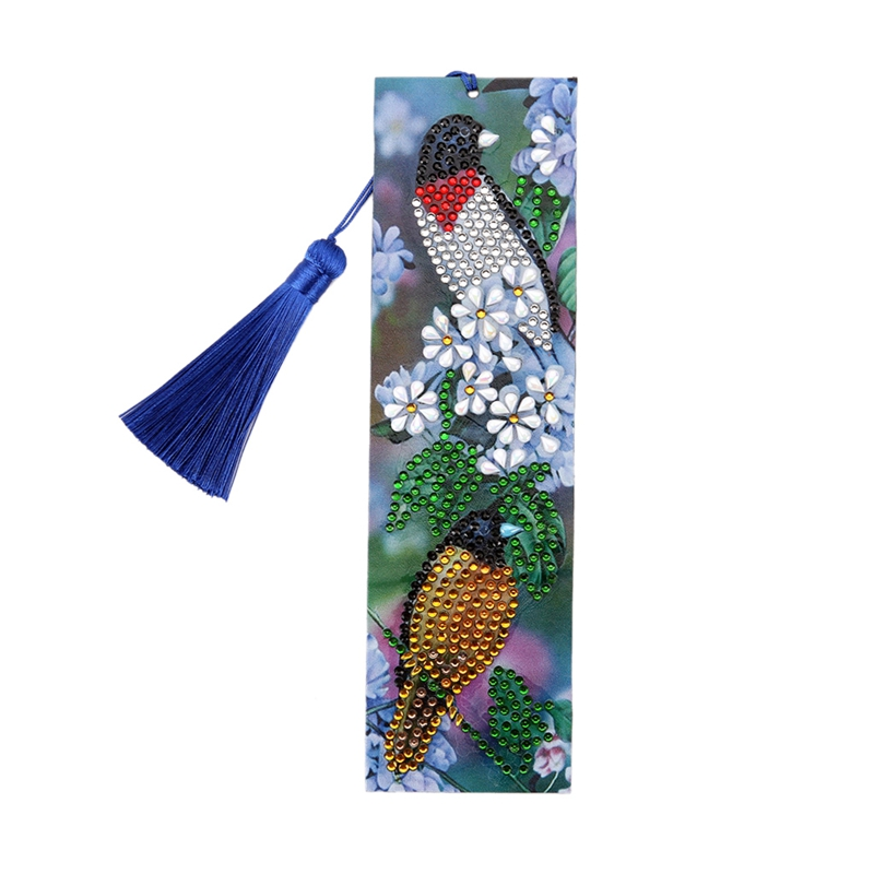 5D DIY Special Shaped Diamond Painting Bookmark Leather Tassel Bookmark Diamond Embroidery Craft Book Marks