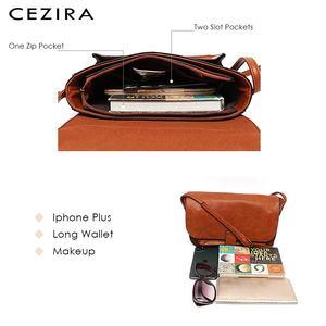 Image 3 - Bolso CEZIRA de marca de diseñador, bandolera para mujer, bolso de mano con solapa de piel vegana de alta calidad, bandolera Lisa para mujer