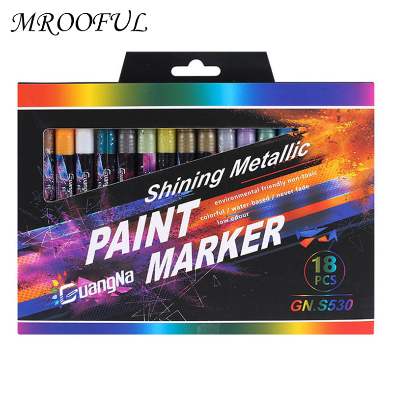 Rotulador de arte metálico, 6/12/18/24 colores, 0,7mm, rotulador de pintura para álbum, CD permanente de colores, negro, papelería